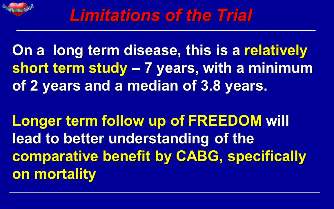 Limitations of the Trial On a long term disease, this is a relatively short term study – 7 years, with a minimum of 2 years and a median of 3.8 years.