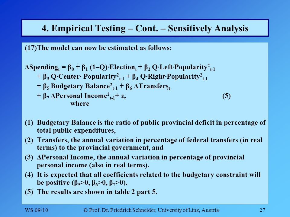 WS 09/10© Prof. Dr. Friedrich Schneider, University of Linz, Austria27 4. Empirical Testing – Cont. – Sensitively Analysis (17)The model can now be es