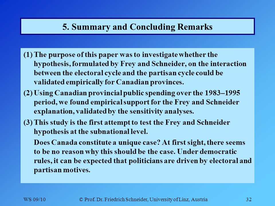 WS 09/10© Prof. Dr. Friedrich Schneider, University of Linz, Austria32 5. Summary and Concluding Remarks (1)The purpose of this paper was to investiga