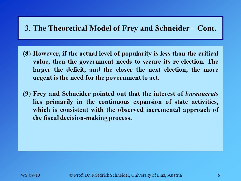 WS 09/10© Prof. Dr. Friedrich Schneider, University of Linz, Austria9 3. The Theoretical Model of Frey and Schneider – Cont. (8)However, if the actual