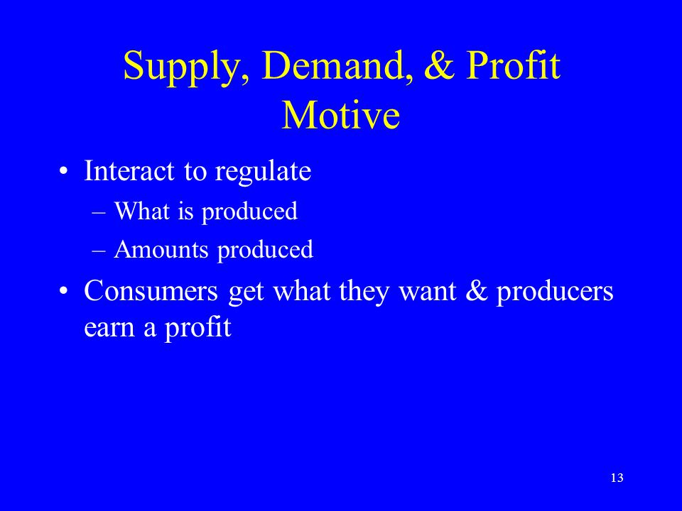 13 Supply, Demand, & Profit Motive Interact to regulate –What is produced –Amounts produced Consumers get what they want & producers earn a profit