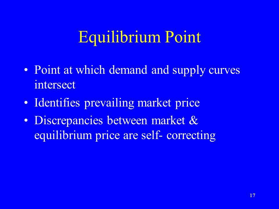17 Equilibrium Point Point at which demand and supply curves intersect Identifies prevailing market price Discrepancies between market & equilibrium price are self- correcting