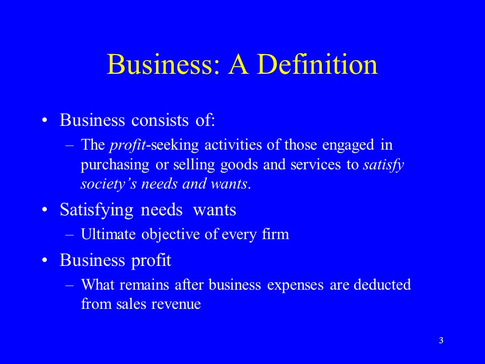 3 Business: A Definition Business consists of: –The profit-seeking activities of those engaged in purchasing or selling goods and services to satisfy society's needs and wants.