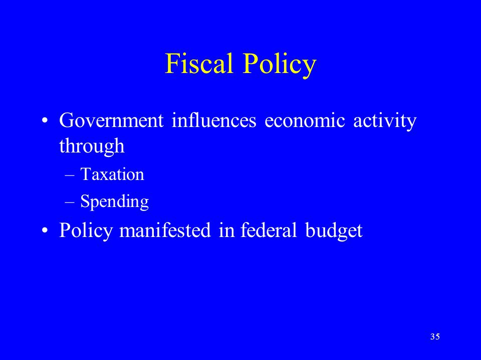 35 Fiscal Policy Government influences economic activity through –Taxation –Spending Policy manifested in federal budget