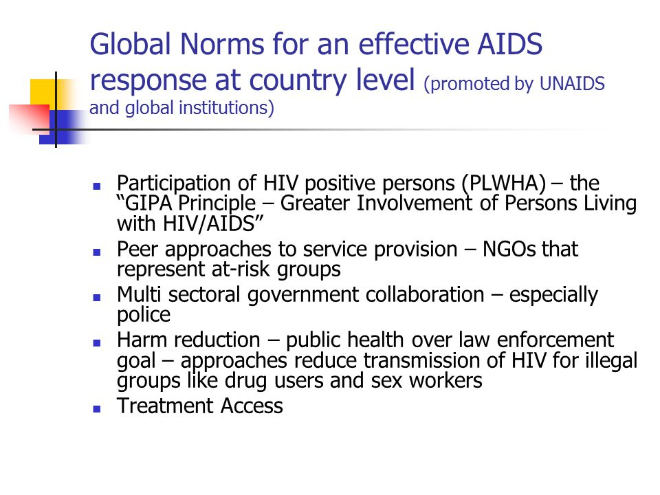 Global Norms for an effective AIDS response at country level (promoted by UNAIDS and global institutions) Participation of HIV positive persons (PLWHA