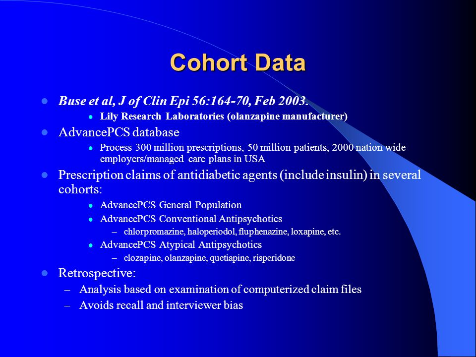 Cohort Data Buse et al, J of Clin Epi 56:164-70, Feb 2003. Lily Research Laboratories (olanzapine manufacturer) AdvancePCS database Process 300 millio
