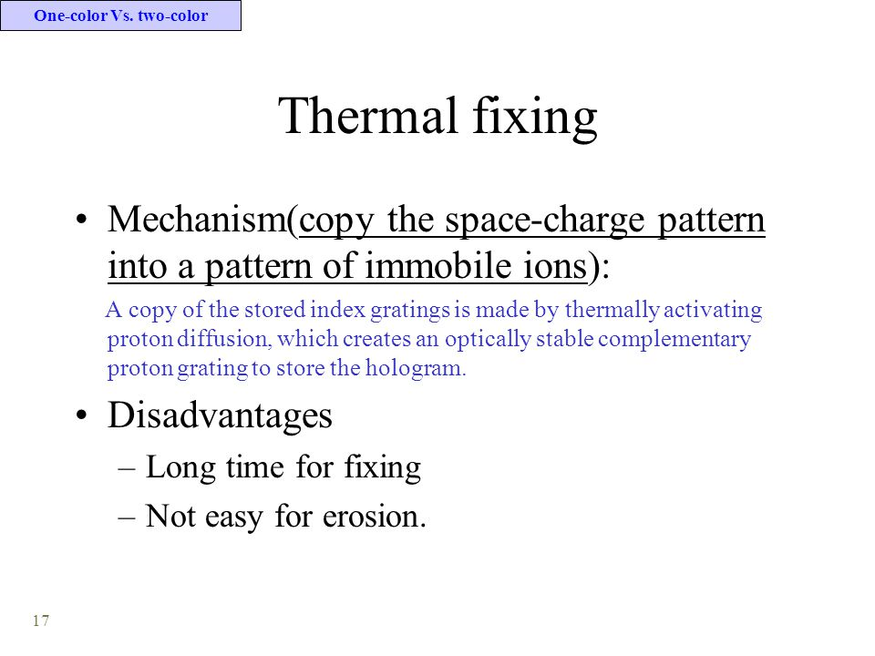 17 Thermal fixing Mechanism(copy the space-charge pattern into a pattern of immobile ions): A copy of the stored index gratings is made by thermally a
