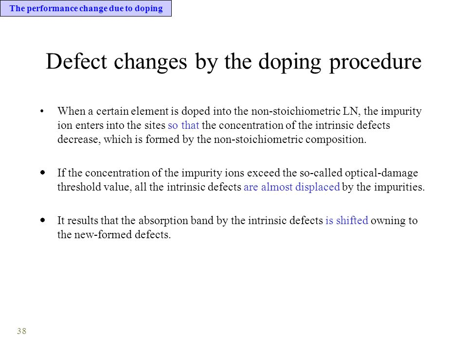 38 Defect changes by the doping procedure When a certain element is doped into the non-stoichiometric LN, the impurity ion enters into the sites so that the concentration of the intrinsic defects decrease, which is formed by the non-stoichiometric composition.