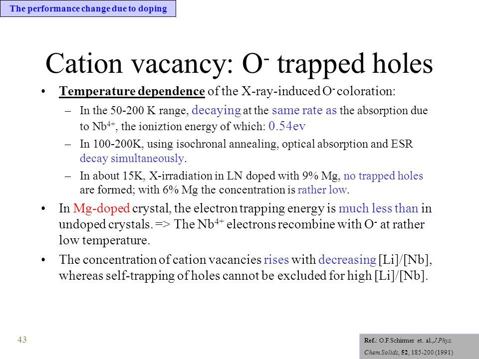 43 Cation vacancy: O - trapped holes Temperature dependence of the X-ray-induced O - coloration: –In the 50-200 K range, decaying at the same rate as