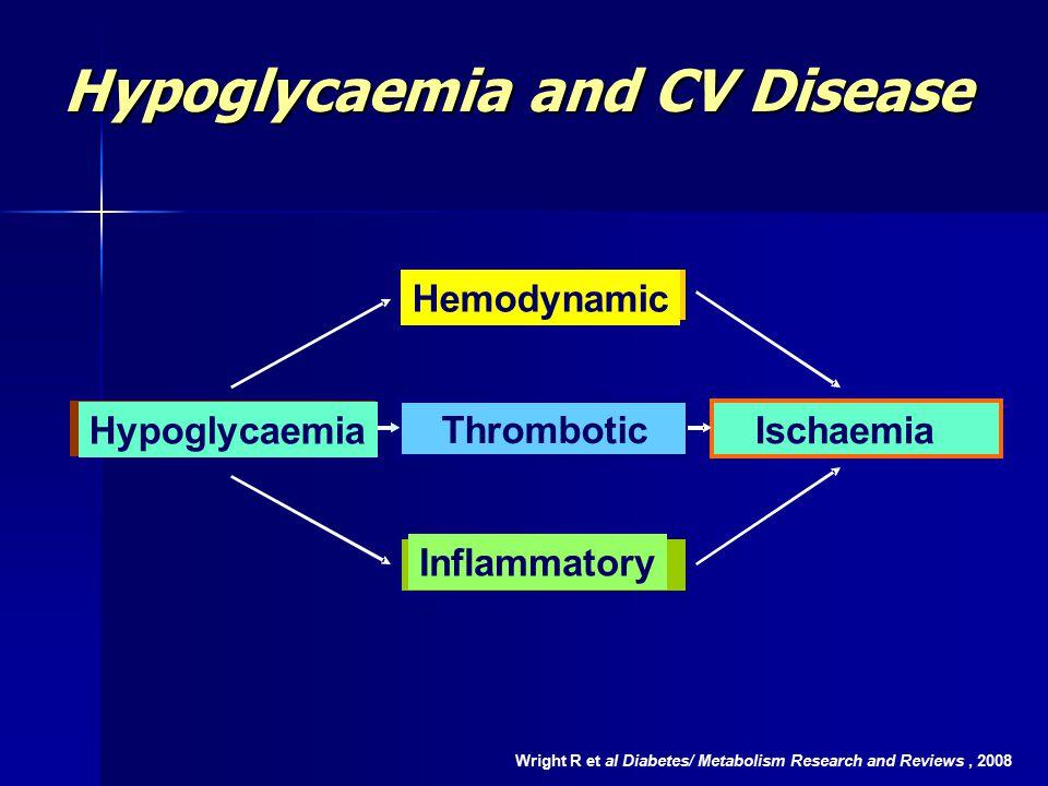 Hypoglycaemia and CV Disease Wright R et al Diabetes/ Metabolism Research and Reviews, 2008 Hemodynamic Thrombotic Inflammatory Hypoglycaemia Ischaemia