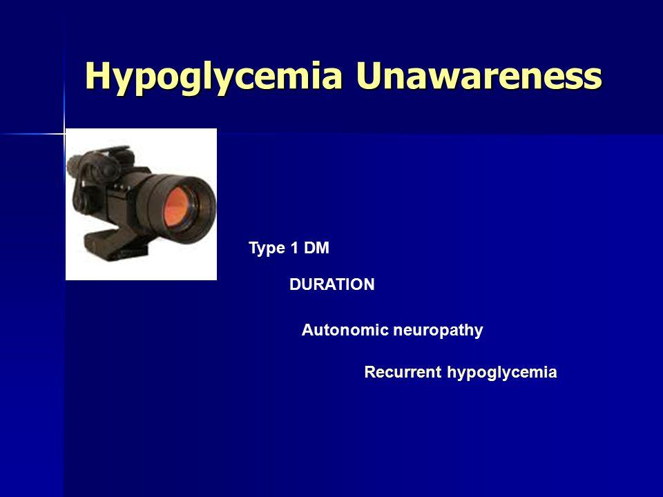 Hypoglycemia Unawareness Type 1 DM DURATION Autonomic neuropathy Recurrent hypoglycemia