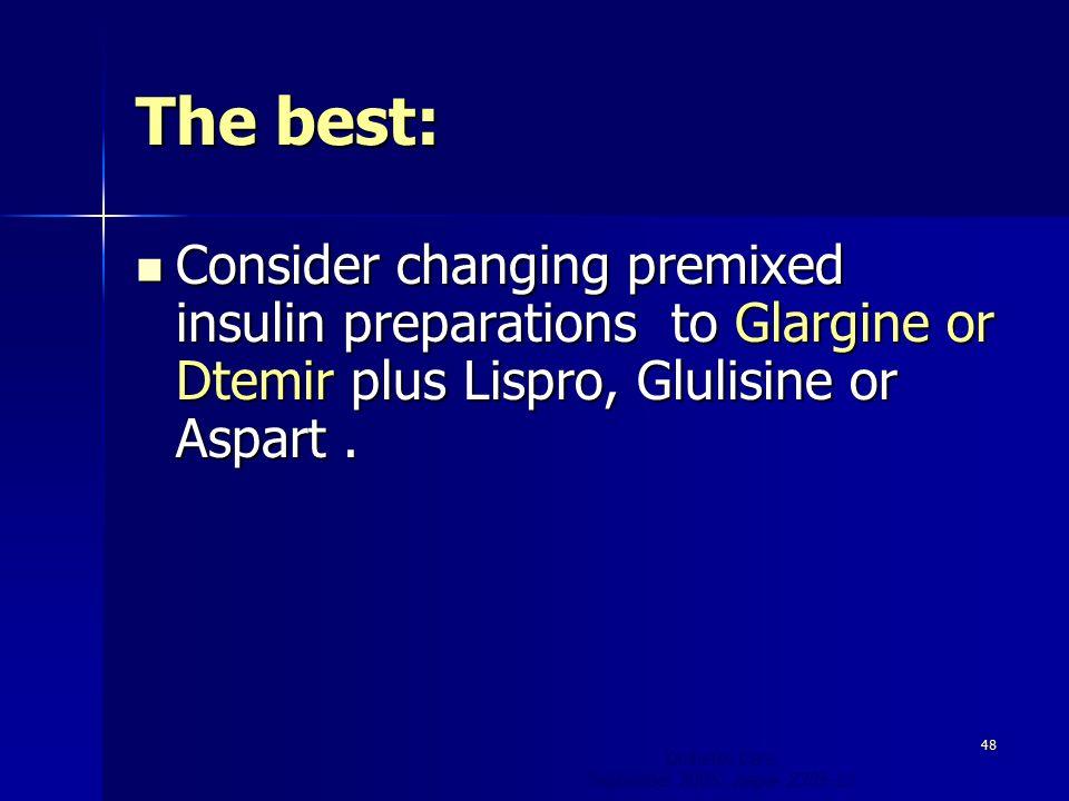 The best: Consider changing premixed insulin preparations to Glargine or Dtemir plus Lispro, Glulisine or Aspart.