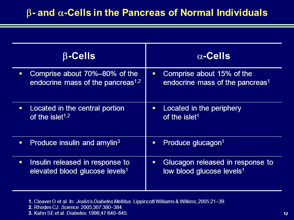 12  - and  -Cells in the Pancreas of Normal Individuals  -Cells  -Cells  Comprise about 70%–80% of the endocrine mass of the pancreas 1,2  Compr