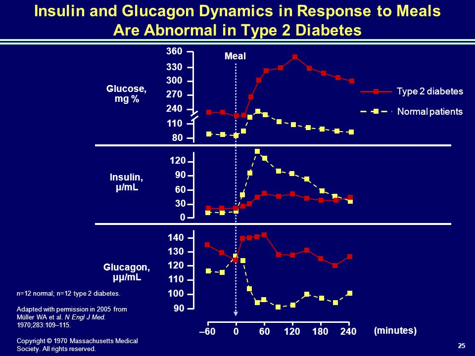 25 Insulin and Glucagon Dynamics in Response to Meals Are Abnormal in Type 2 Diabetes –60060120180240 360 330 300 270 240 110 80 140 130 120 110 100 9