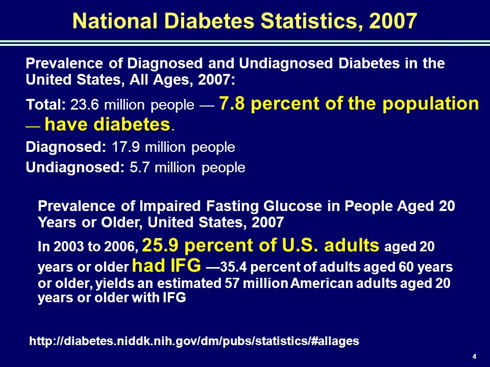 4 National Diabetes Statistics, 2007 Prevalence of Diagnosed and Undiagnosed Diabetes in the United States, All Ages, 2007: Total: 23.6 million people