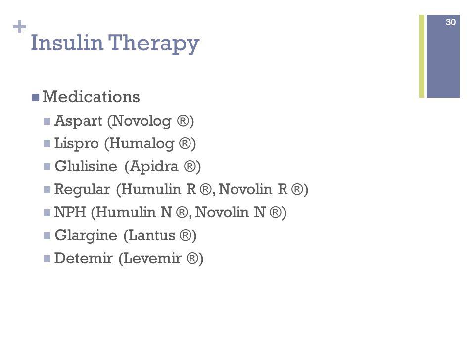 + Insulin Therapy Medication (continued) Humalog Mix 75/25 ® 75% lispro protamine/25% lispro Humalog Mix 50/50 ® 50% lispro protamine/50% lispro Novolog Mix 70/30 ® 70% aspart protamine/30% aspart Humulin Mix 70/30 ® and Novolin Mix 70/30 ® 70% NPH/30% regular Humulin Mix 50/50 ® 50% NPH/50% regular 31