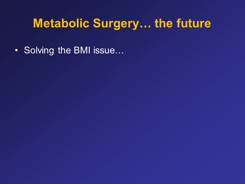 Metabolic Surgery… the future Solving the BMI issue…