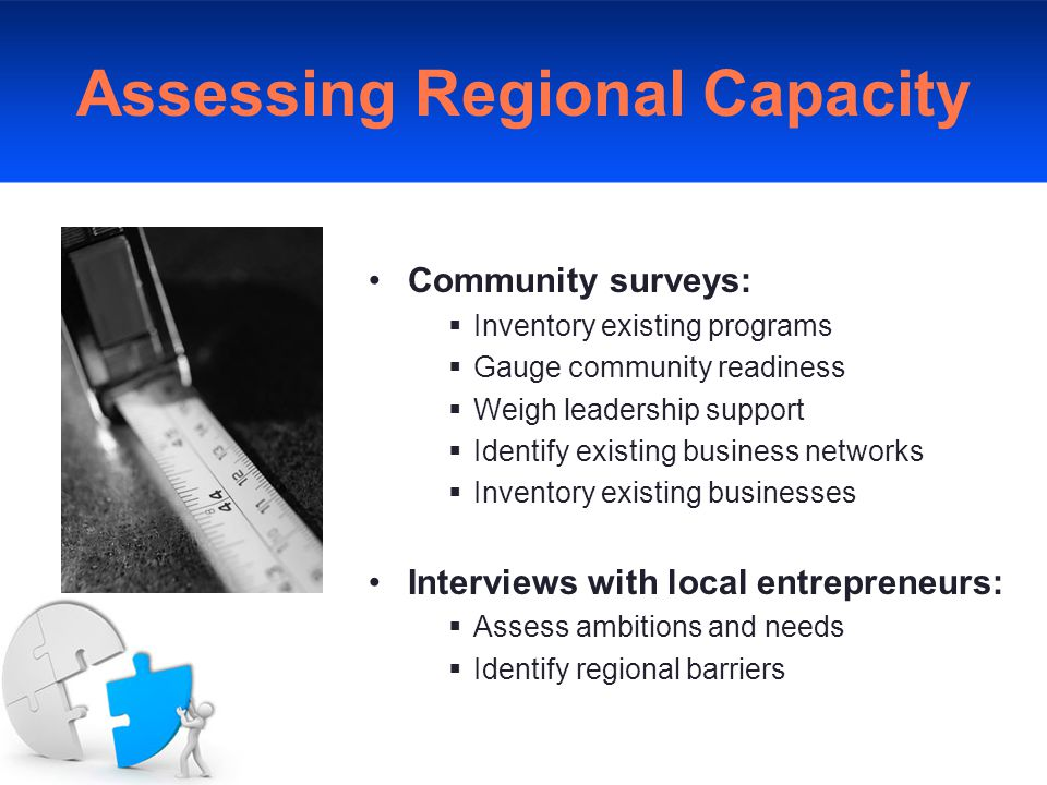 Assessing Regional Capacity Community surveys:  Inventory existing programs  Gauge community readiness  Weigh leadership support  Identify existing business networks  Inventory existing businesses Interviews with local entrepreneurs:  Assess ambitions and needs  Identify regional barriers