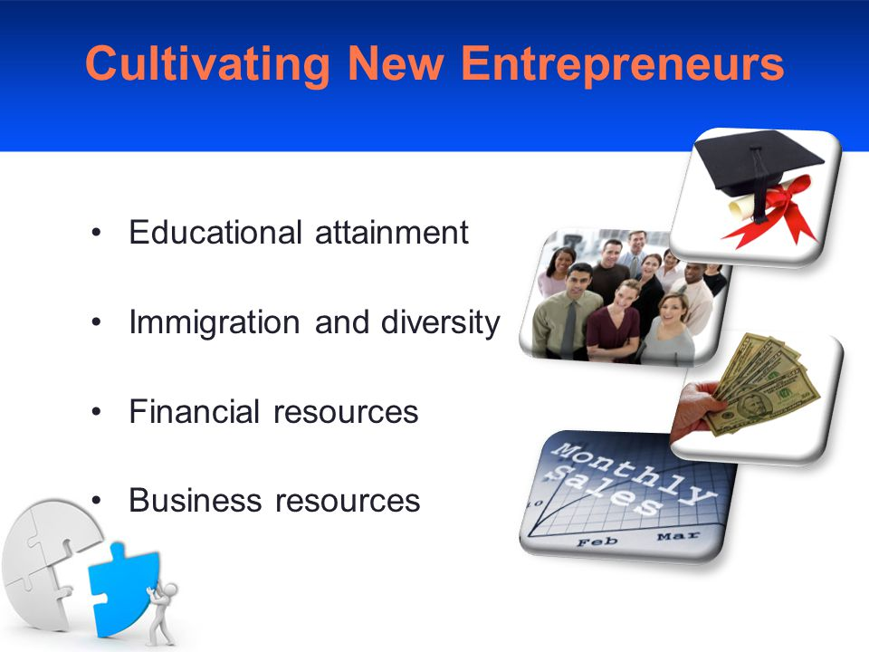 Cultivating New Entrepreneurs Educational attainment Immigration and diversity Financial resources Business resources