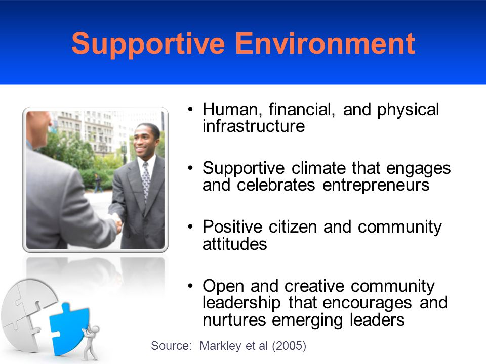Supportive Environment Human, financial, and physical infrastructure Supportive climate that engages and celebrates entrepreneurs Positive citizen and community attitudes Open and creative community leadership that encourages and nurtures emerging leaders Source: Markley et al (2005)