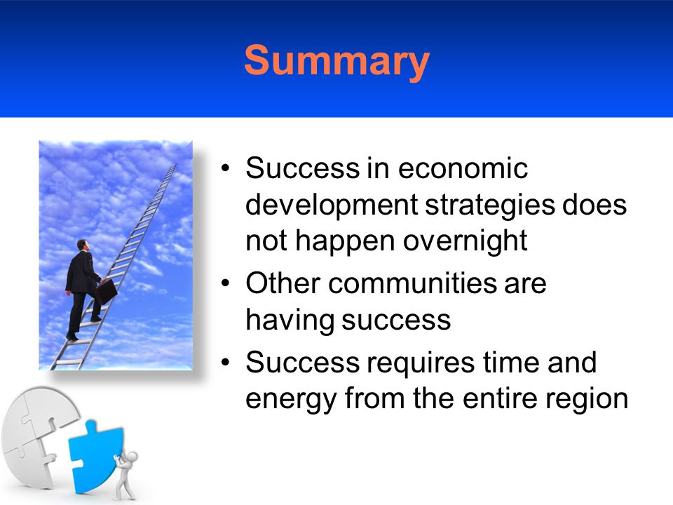 Summary Success in economic development strategies does not happen overnight Other communities are having success Success requires time and energy from the entire region