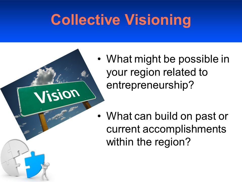 Collective Visioning What might be possible in your region related to entrepreneurship.