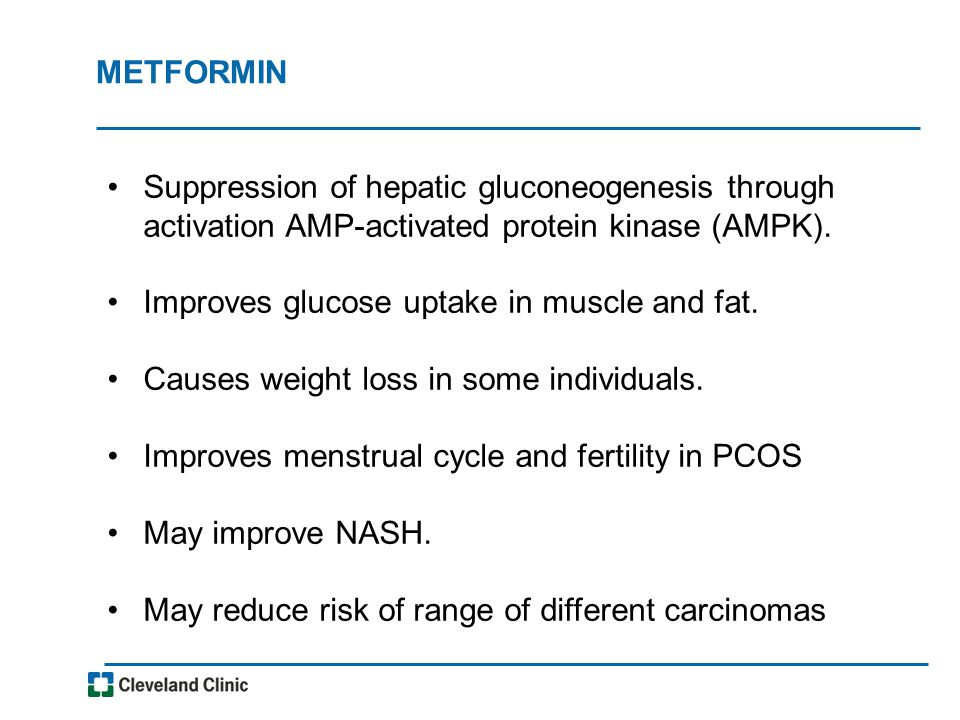 METFORMIN Suppression of hepatic gluconeogenesis through activation AMP-activated protein kinase (AMPK).