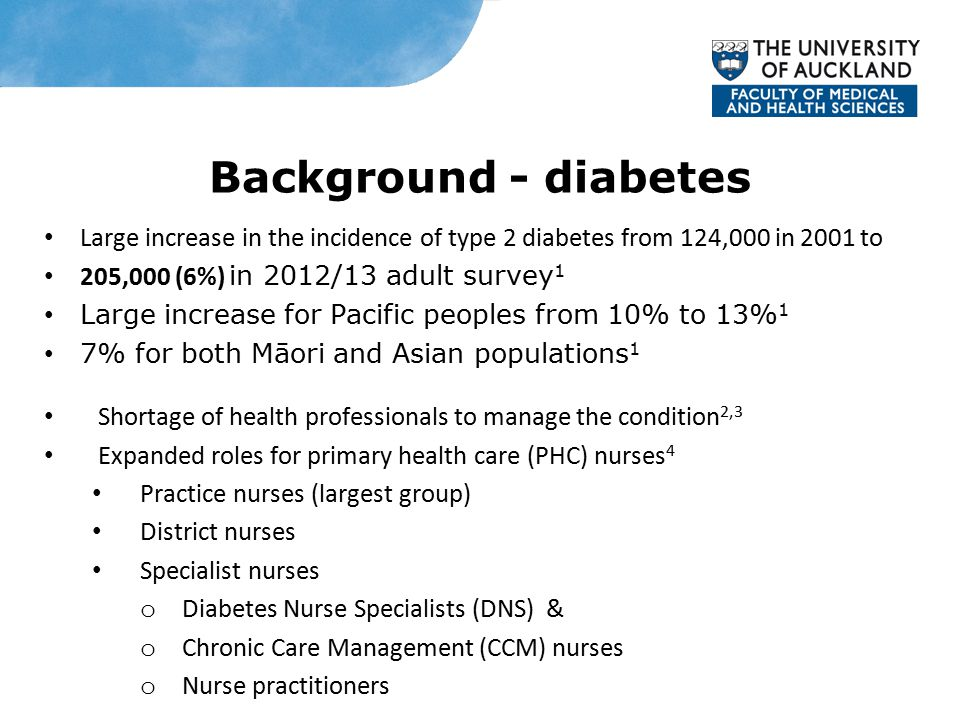 Background - diabetes Large increase in the incidence of type 2 diabetes from 124,000 in 2001 to 205,000 (6%) in 2012/13 adult survey 1 Large increase for Pacific peoples from 10% to 13% 1 7% for both Māori and Asian populations 1 Shortage of health professionals to manage the condition 2,3 Expanded roles for primary health care (PHC) nurses 4 Practice nurses (largest group) District nurses Specialist nurses o Diabetes Nurse Specialists (DNS) & o Chronic Care Management (CCM) nurses o Nurse practitioners