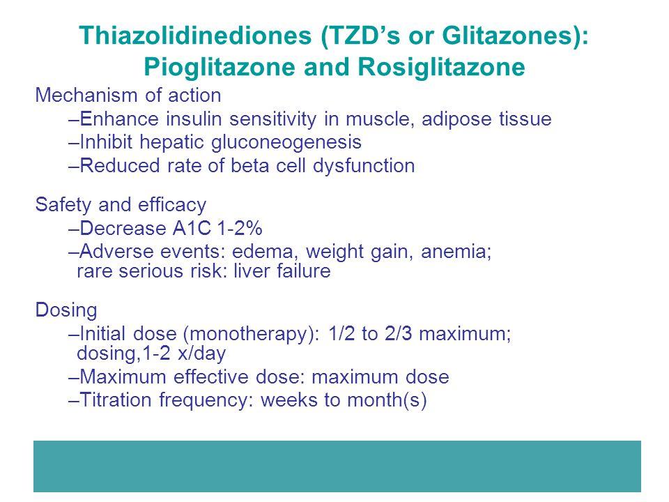 Thiazolidinediones (TZD's or Glitazones): Pioglitazone and Rosiglitazone Mechanism of action –Enhance insulin sensitivity in muscle, adipose tissue –I