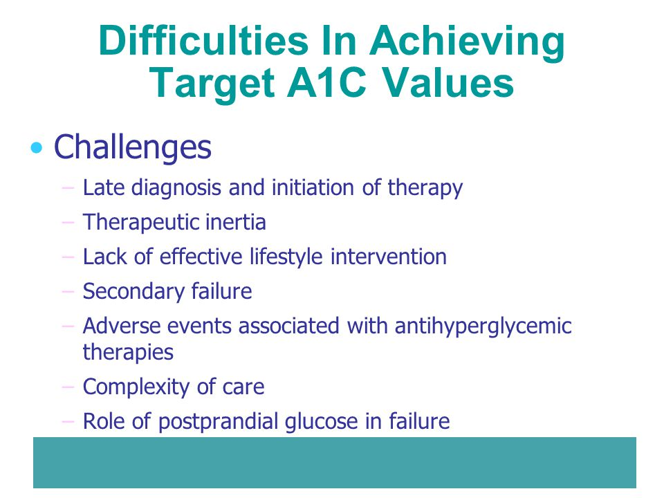 Difficulties In Achieving Target A1C Values Challenges –Late diagnosis and initiation of therapy –Therapeutic inertia –Lack of effective lifestyle int