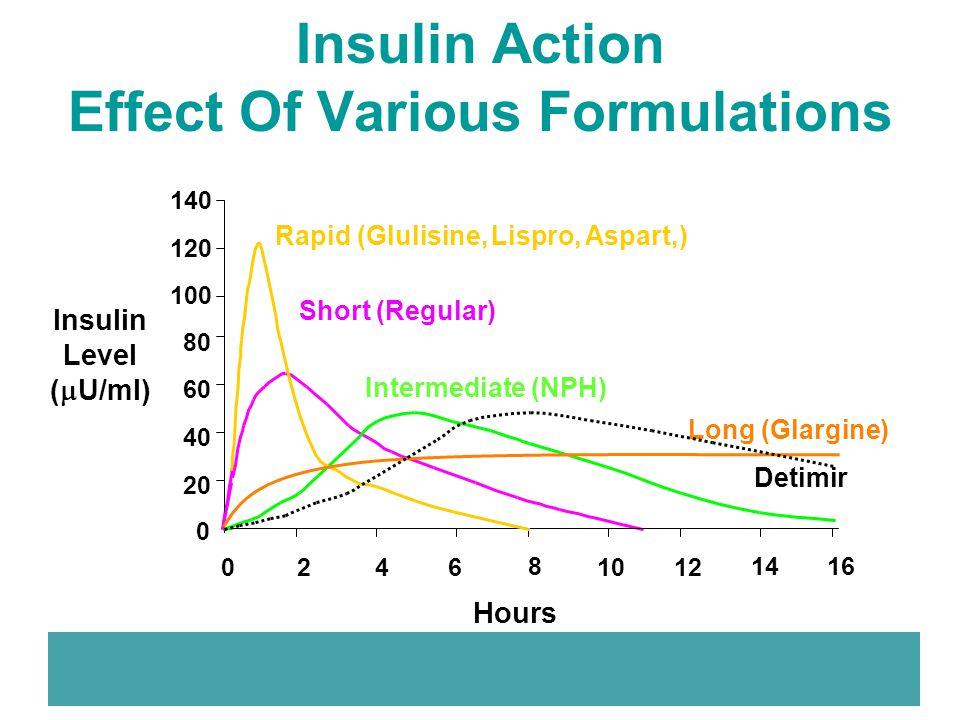 Insulin Action Effect Of Various Formulations 0 20 40 60 80 100 120 140 024 6 810121416 Short (Regular) Rapid (Glulisine, Lispro, Aspart,) Insulin Lev