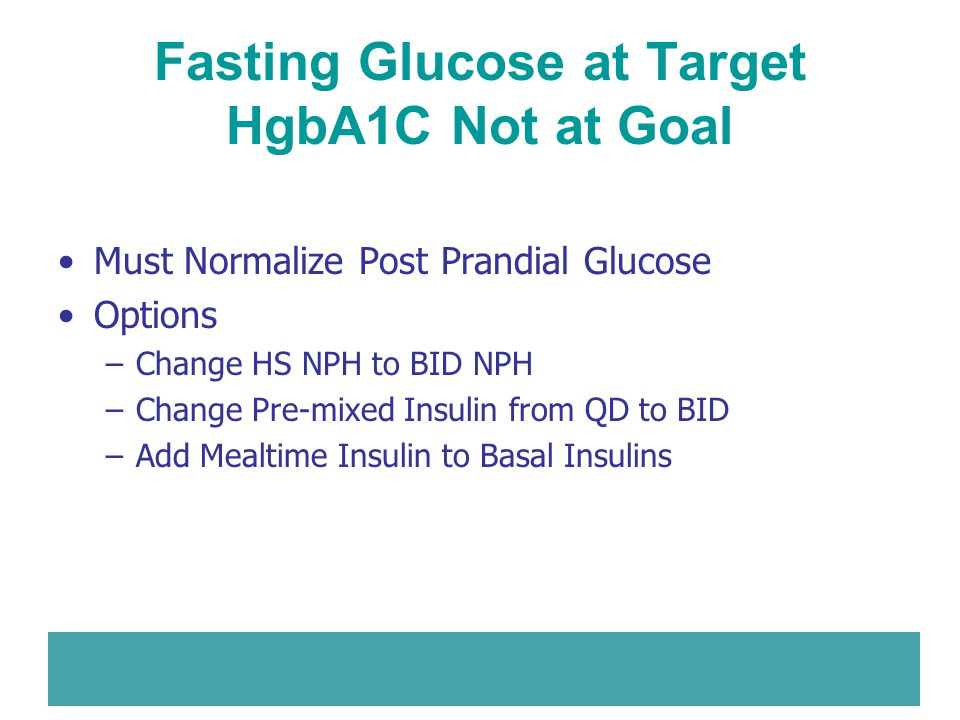 Fasting Glucose at Target HgbA1C Not at Goal Must Normalize Post Prandial Glucose Options –Change HS NPH to BID NPH –Change Pre-mixed Insulin from QD
