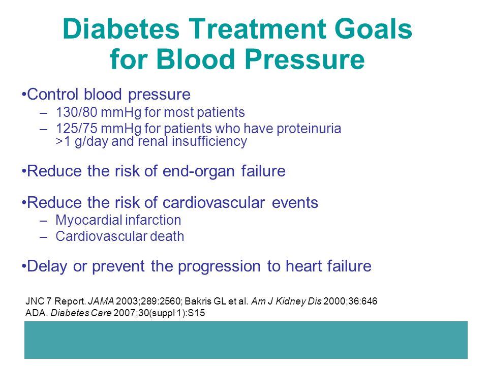 Diabetes Treatment Goals for Blood Pressure Control blood pressure –130/80 mmHg for most patients –125/75 mmHg for patients who have proteinuria >1 g/
