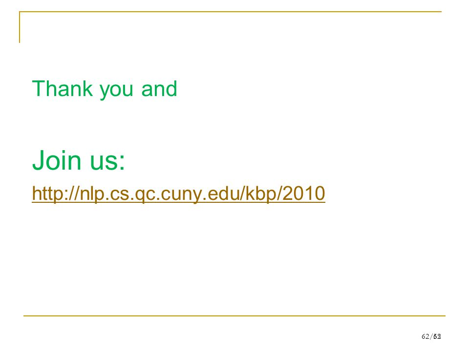 62/55 Thank you and Join us: http://nlp.cs.qc.cuny.edu/kbp/2010 62