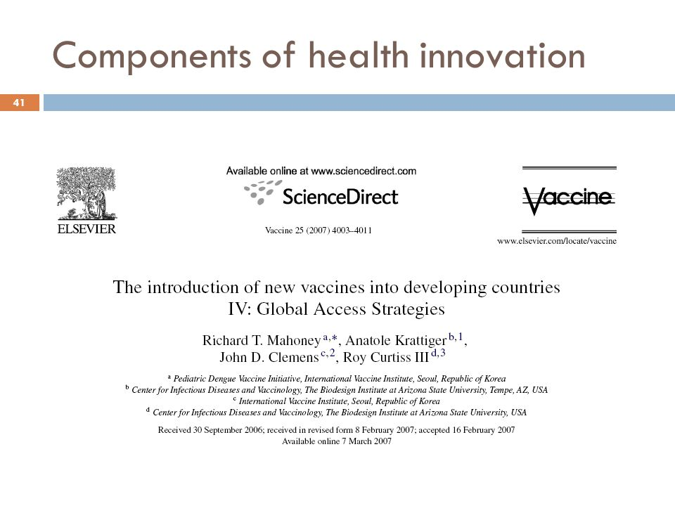 Components of health innovation 41