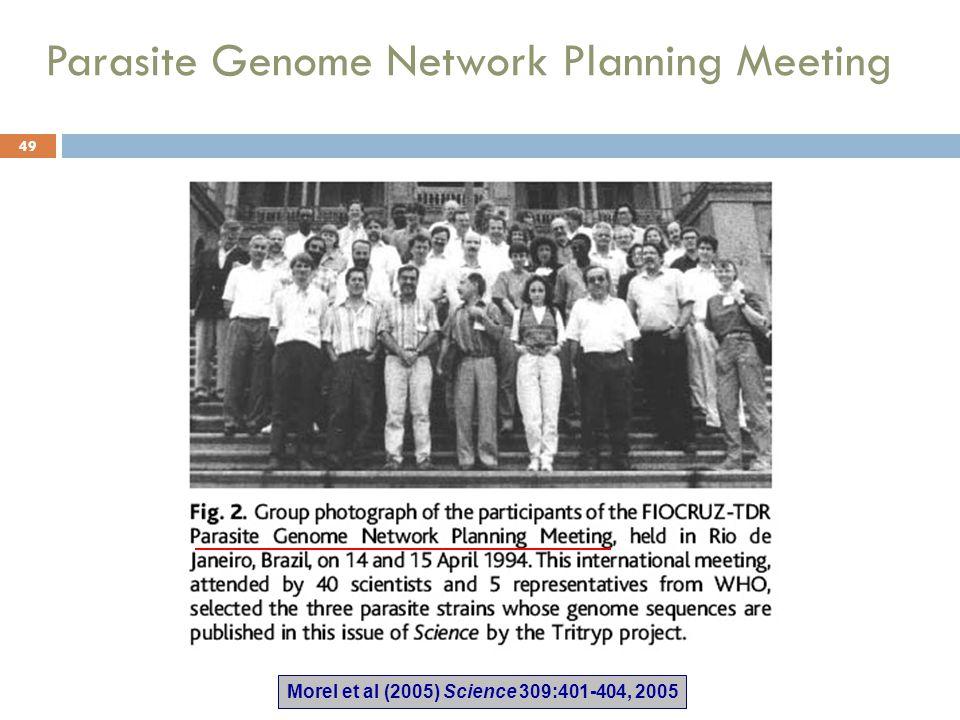 Parasite Genome Network Planning Meeting Morel et al (2005) Science 309:401-404, 2005 49