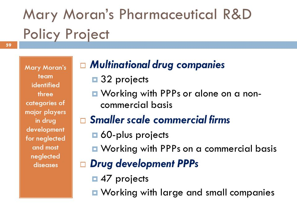Mary Moran's Pharmaceutical R&D Policy Project Mary Moran's team identified three categories of major players in drug development for neglected and mo