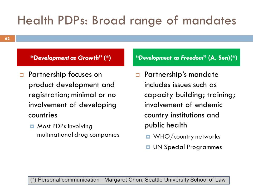 Health PDPs: Broad range of mandates  Partnership focuses on product development and registration; minimal or no involvement of developing countries