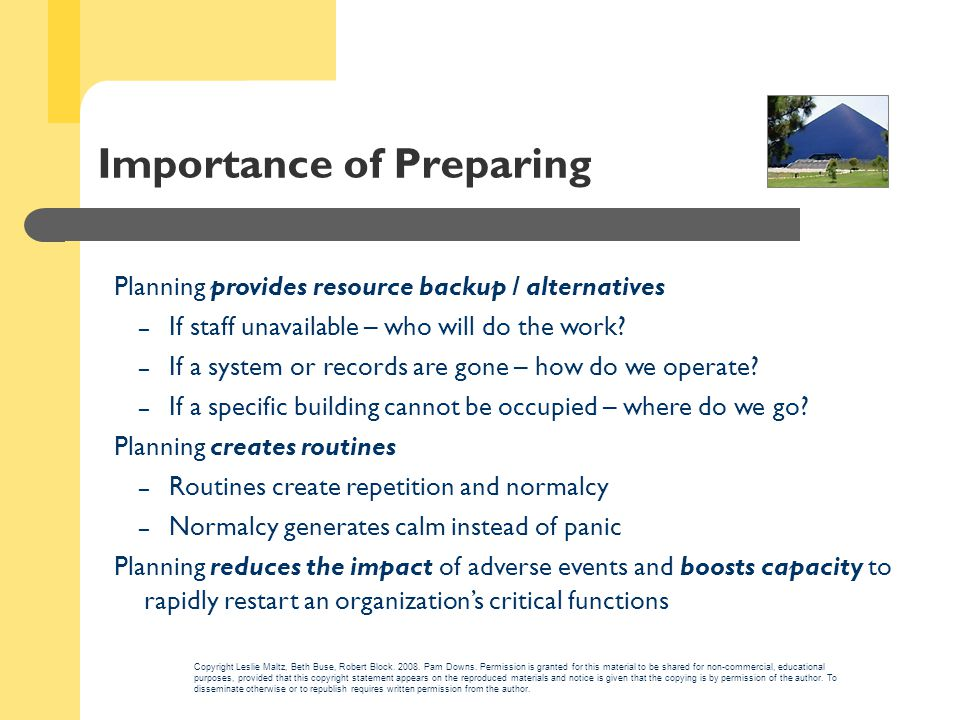 Importance of Preparing Planning provides resource backup / alternatives – If staff unavailable – who will do the work.
