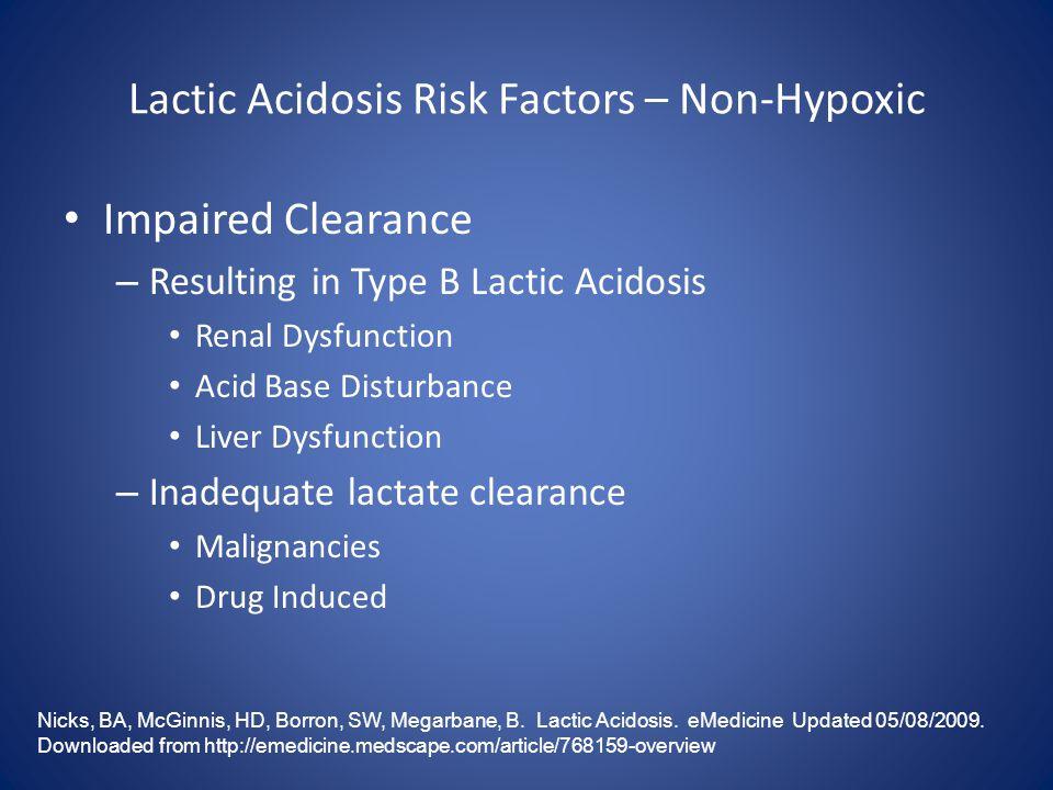 Lactic Acidosis Risk Factors – Non-Hypoxic Nicks, BA, McGinnis, HD, Borron, SW, Megarbane, B. Lactic Acidosis. eMedicine Updated 05/08/2009. Downloade