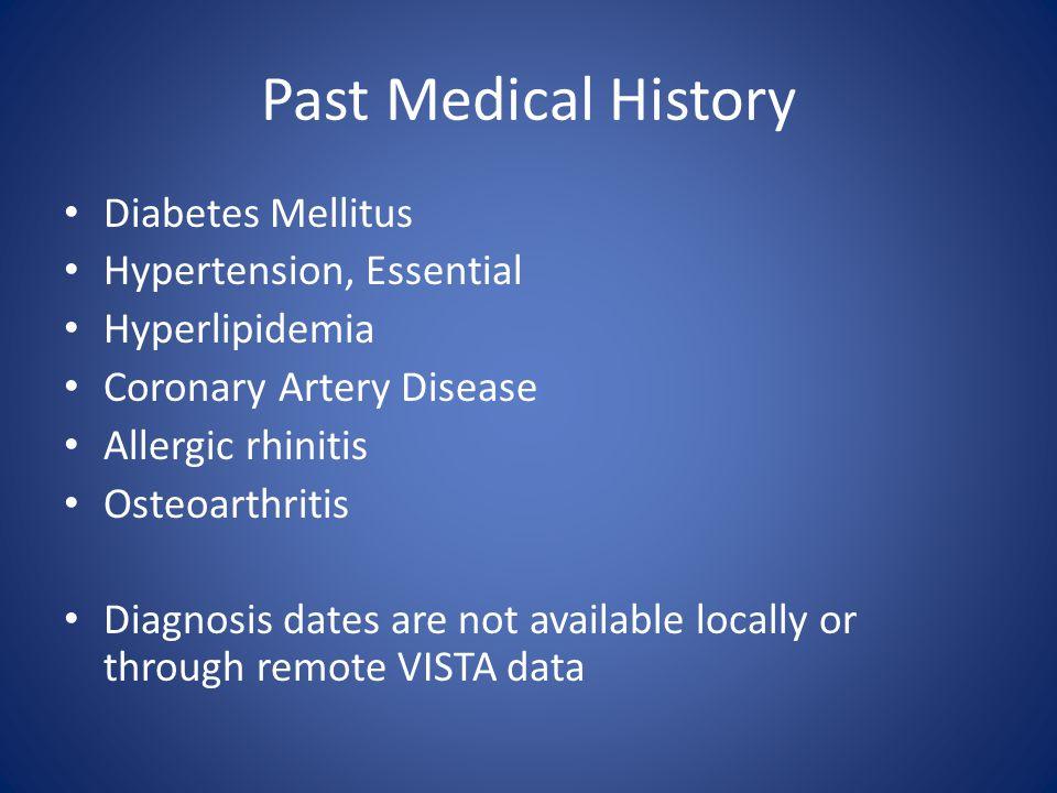 Past Medical History Diabetes Mellitus Hypertension, Essential Hyperlipidemia Coronary Artery Disease Allergic rhinitis Osteoarthritis Diagnosis dates