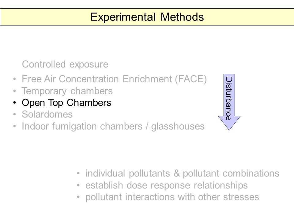 Experimental Methods individual pollutants & pollutant combinations establish dose response relationships pollutant interactions with other stresses Controlled exposure Free Air Concentration Enrichment (FACE) Temporary chambers Open Top Chambers Solardomes Indoor fumigation chambers / glasshouses Disturbance