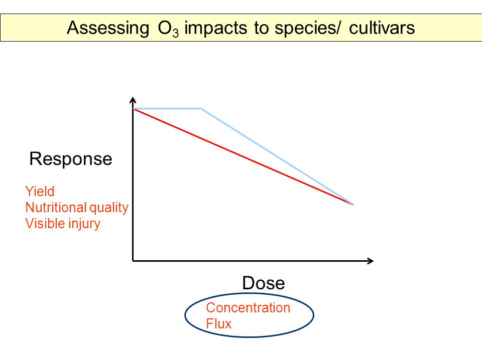 Response Dose Yield Nutritional quality Visible injury Concentration Flux Assessing O 3 impacts to species/ cultivars