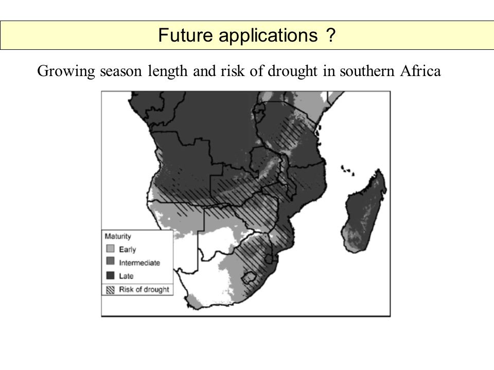 Growing season length and risk of drought in southern Africa Future applications
