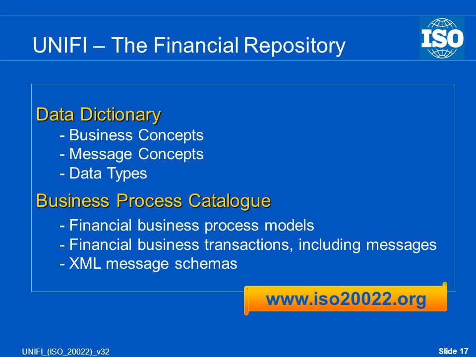 Slide 17 UNIFI_(ISO_20022)_v32 UNIFI – The Financial Repository Data Dictionary - Business Concepts - Message Concepts - Data Types Business Process C