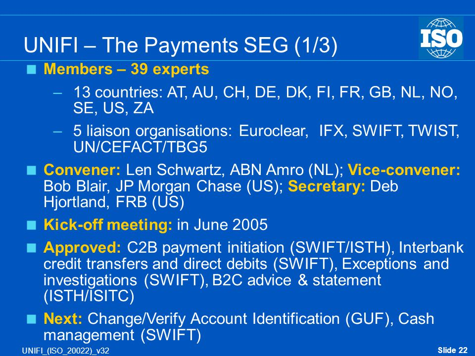 Slide 22 UNIFI_(ISO_20022)_v32  Members – 39 experts –13 countries: AT, AU, CH, DE, DK, FI, FR, GB, NL, NO, SE, US, ZA –5 liaison organisations: Euro