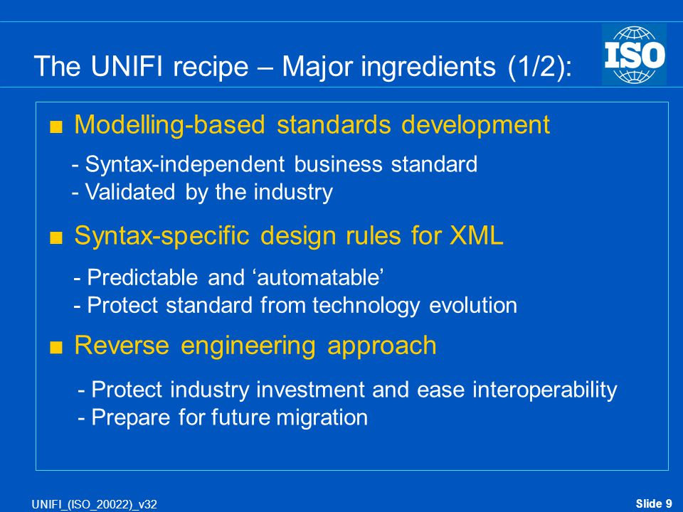 Slide 9 UNIFI_(ISO_20022)_v32 The UNIFI recipe – Major ingredients (1/2):  Modelling-based standards development  Syntax-specific design rules for X