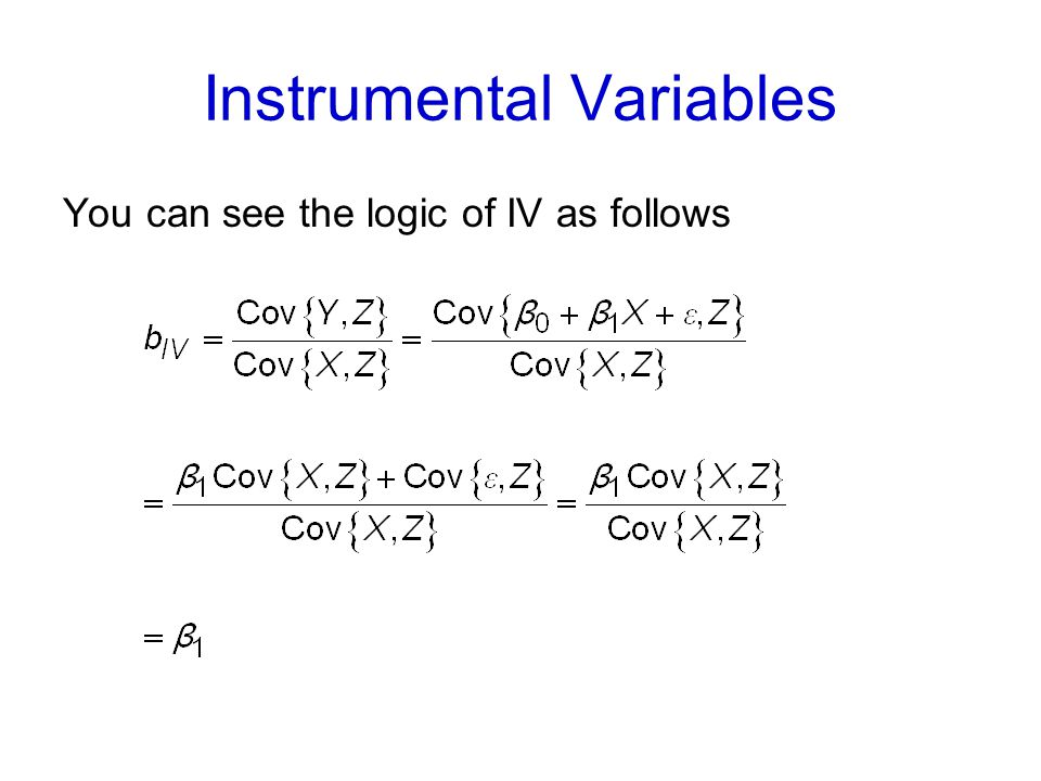 Instrumental Variables You can see the logic of IV as follows