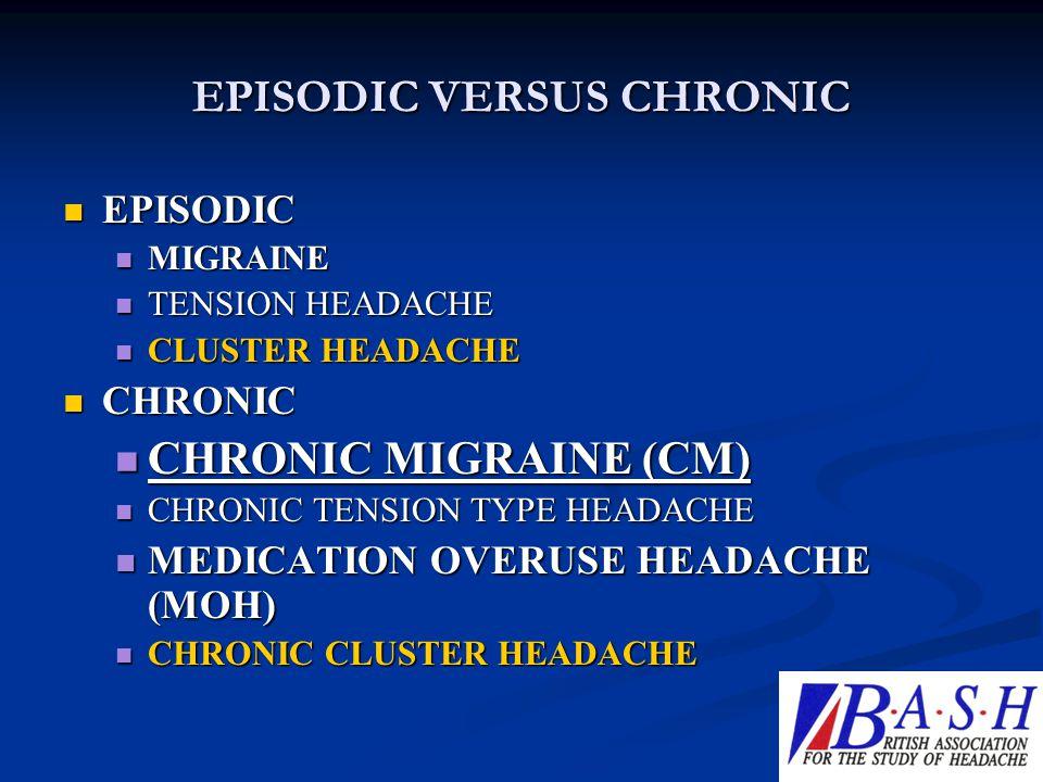 EPISODIC VERSUS CHRONIC EPISODIC EPISODIC MIGRAINE MIGRAINE TENSION HEADACHE TENSION HEADACHE CLUSTER HEADACHE CLUSTER HEADACHE CHRONIC CHRONIC CHRONI