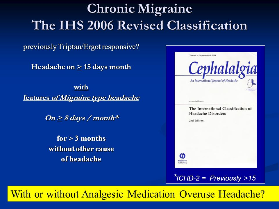 Chronic Migraine The IHS 2006 Revised Classification previously Triptan/Ergot responsive? Headache on > 15 days month with features of Migraine type h